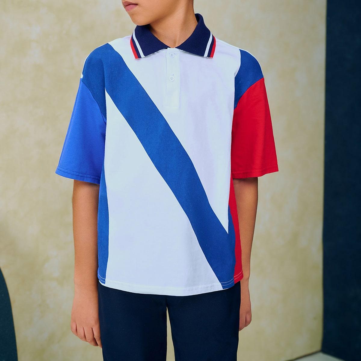 Контрастный воротник полосатый спортивный рубашки поло для мальчиков