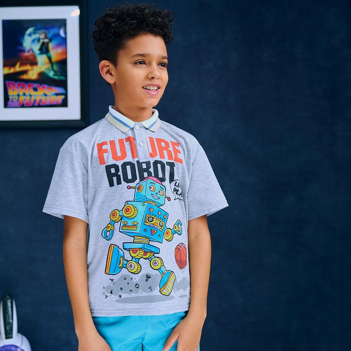 Контрастный воротник с карикатурой повседневный рубашки поло для мальчиков