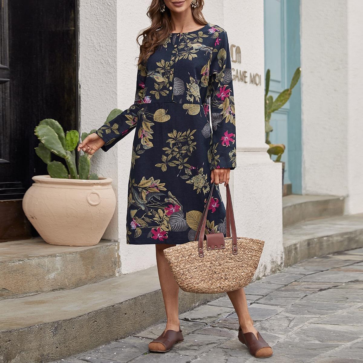 Пуговица Цветочный принт Повседневный Платье