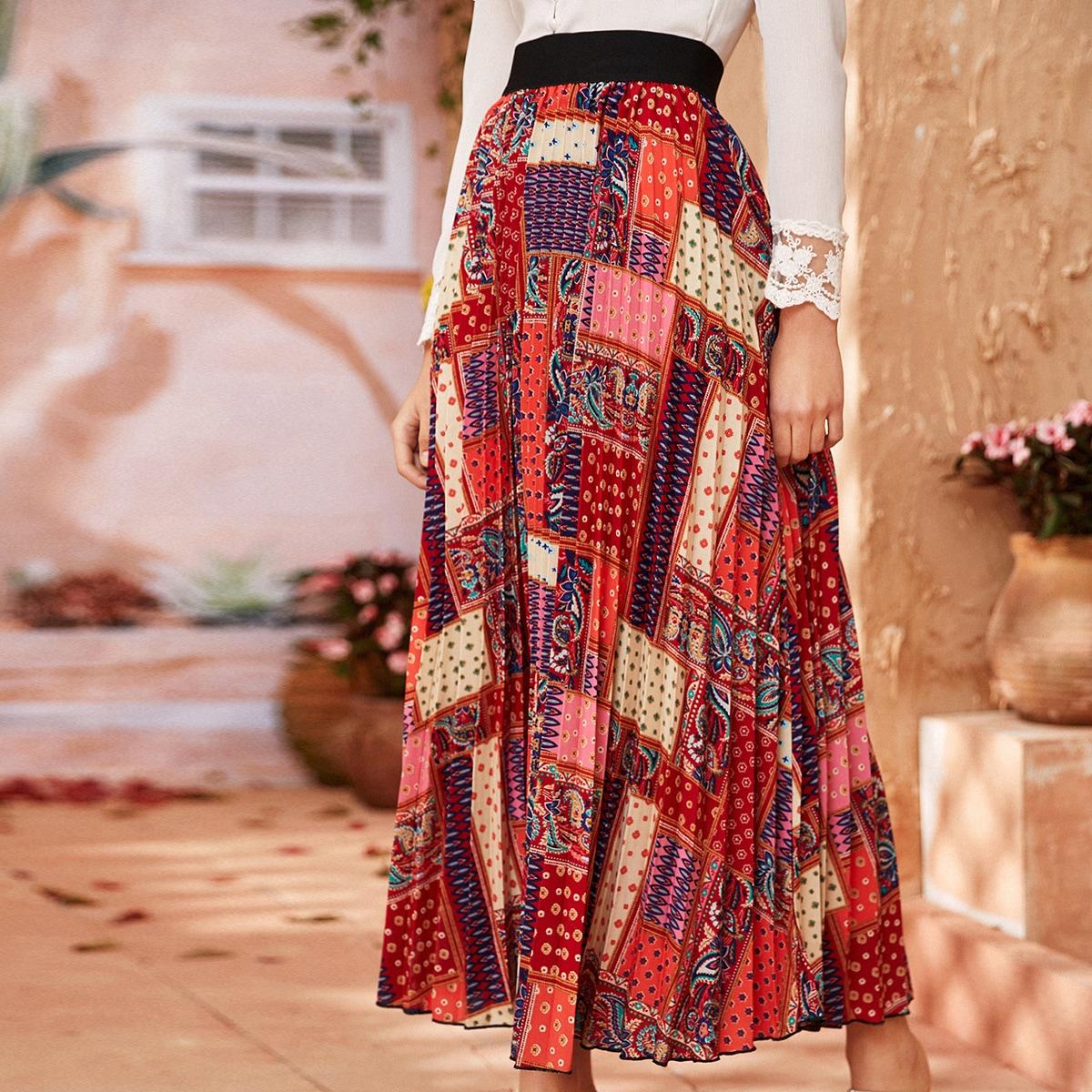 Макси плиссированная юбка с графическим принтом