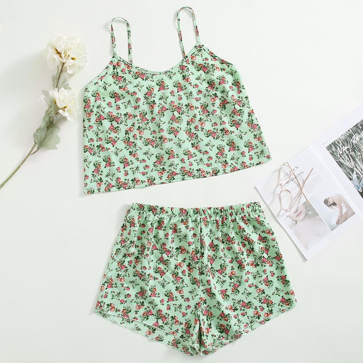 SHEIN Casual Bloemen Grote maten pyjama sets