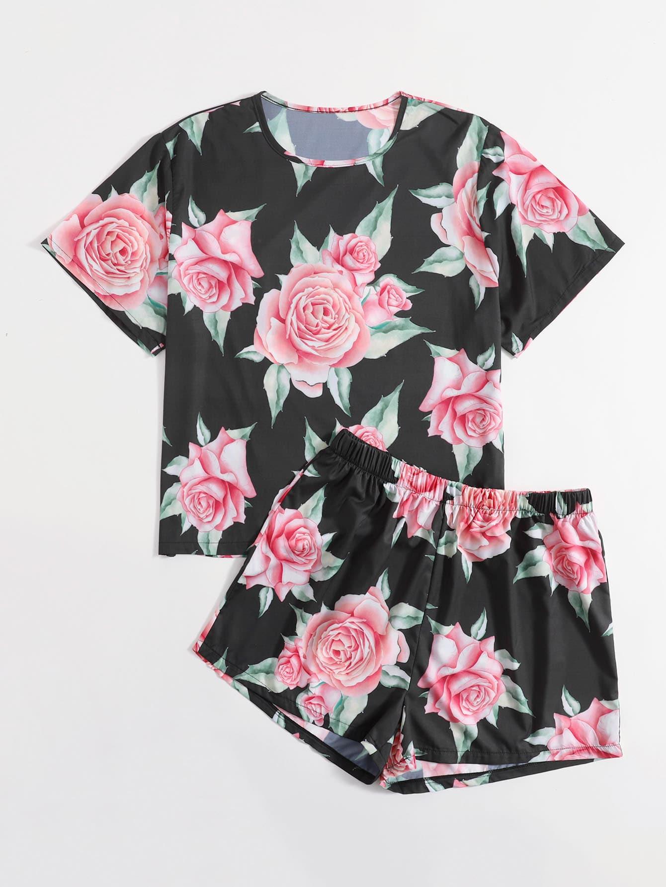 Plus Allover Floral Print Pajama Set
