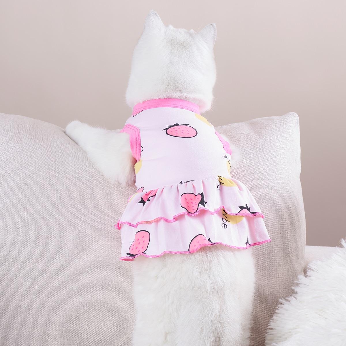 Strawberry Print Pet Dress