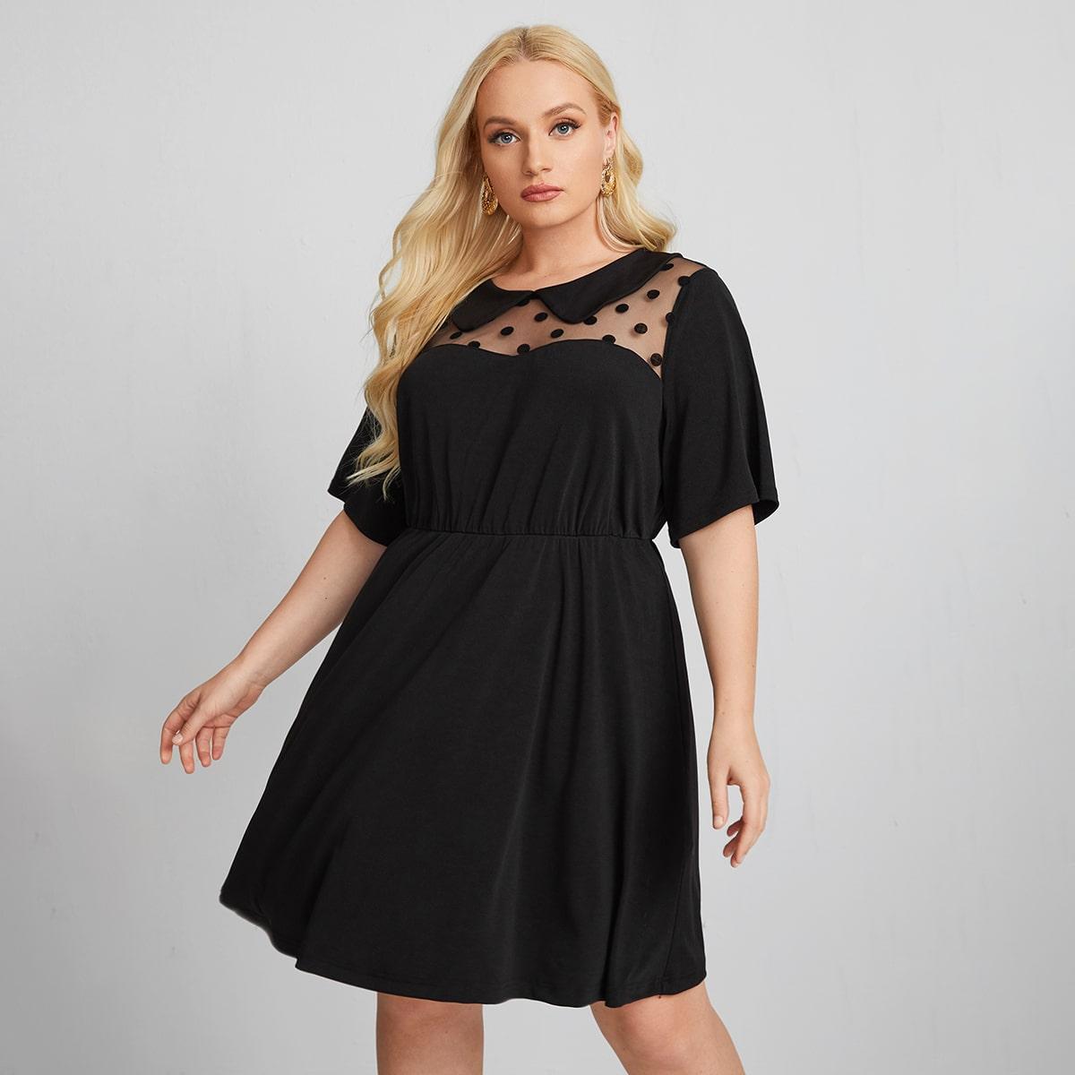 Платье размера плюс с сетчатой вставкой