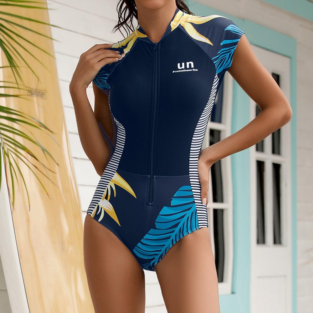 Купальник для серфинга с тропическим принтом