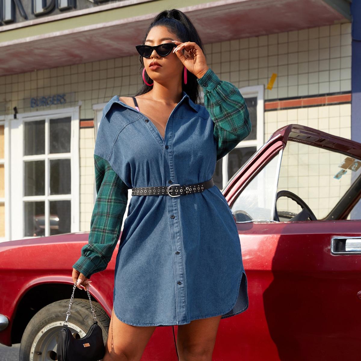 Джинсовое платье размера плюс в клетку без пояса