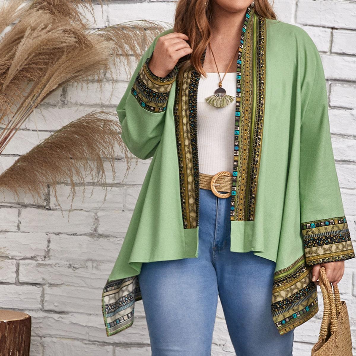 Plus Geo Trim Open Front Kimono