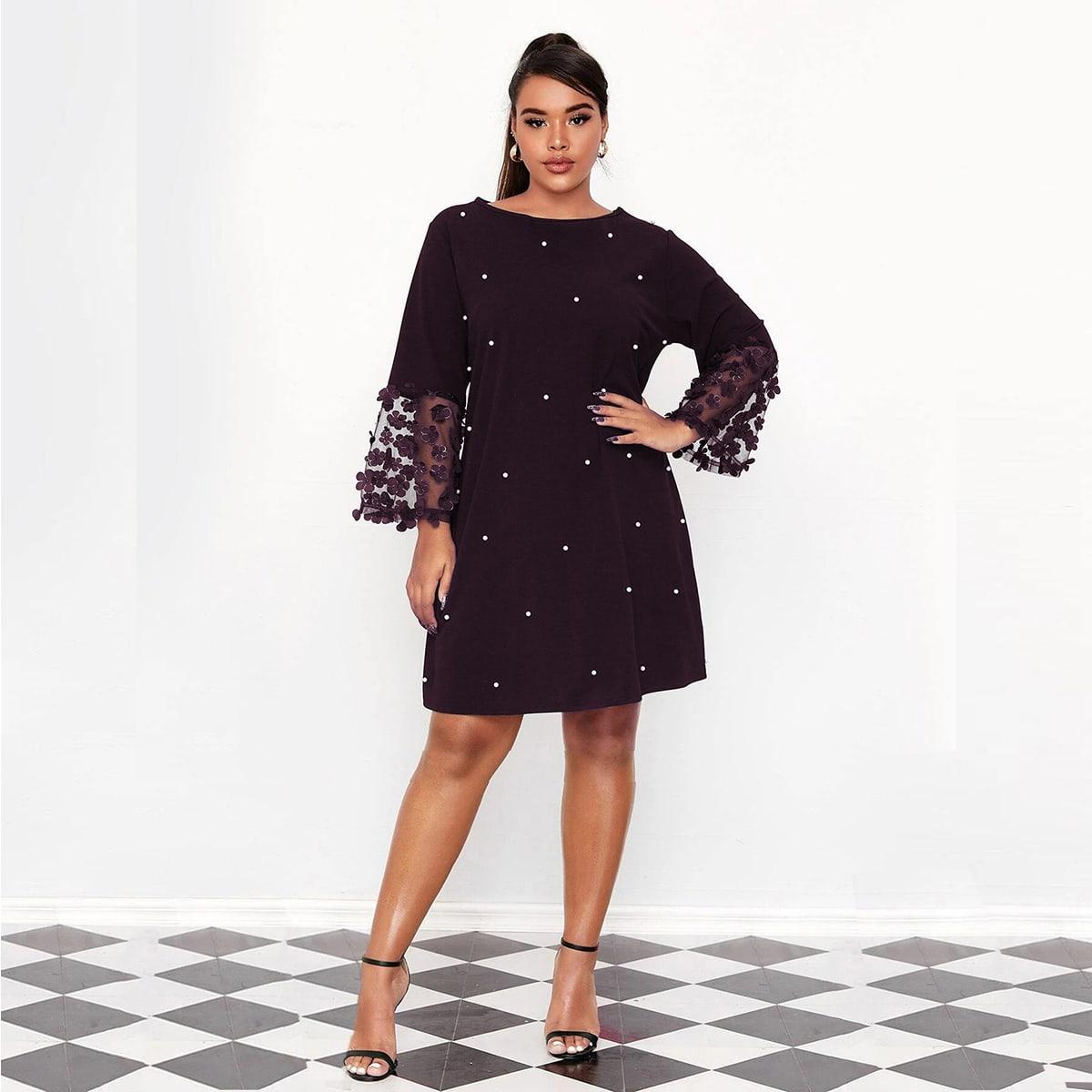 Платье размера плюс с жемчугами и аппликацией