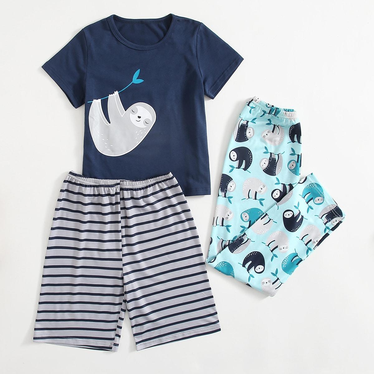 Полосатый милый Домашняя одежда для мальчиков