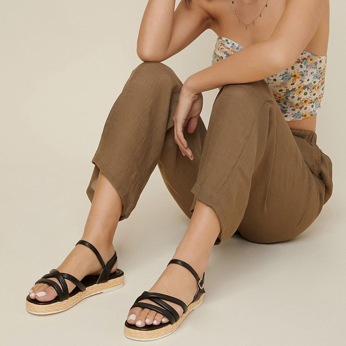 SHEIN / Crisscross Strap Faux Leather Ankle Strap Sandals