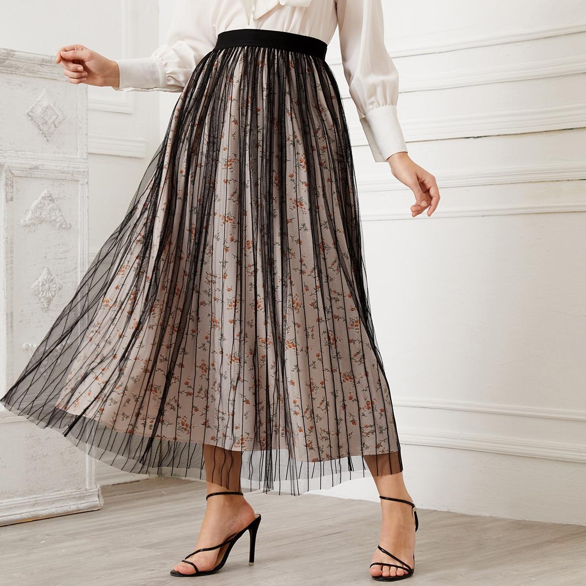 Сетчатая юбка с цветочным принтом по цене 910