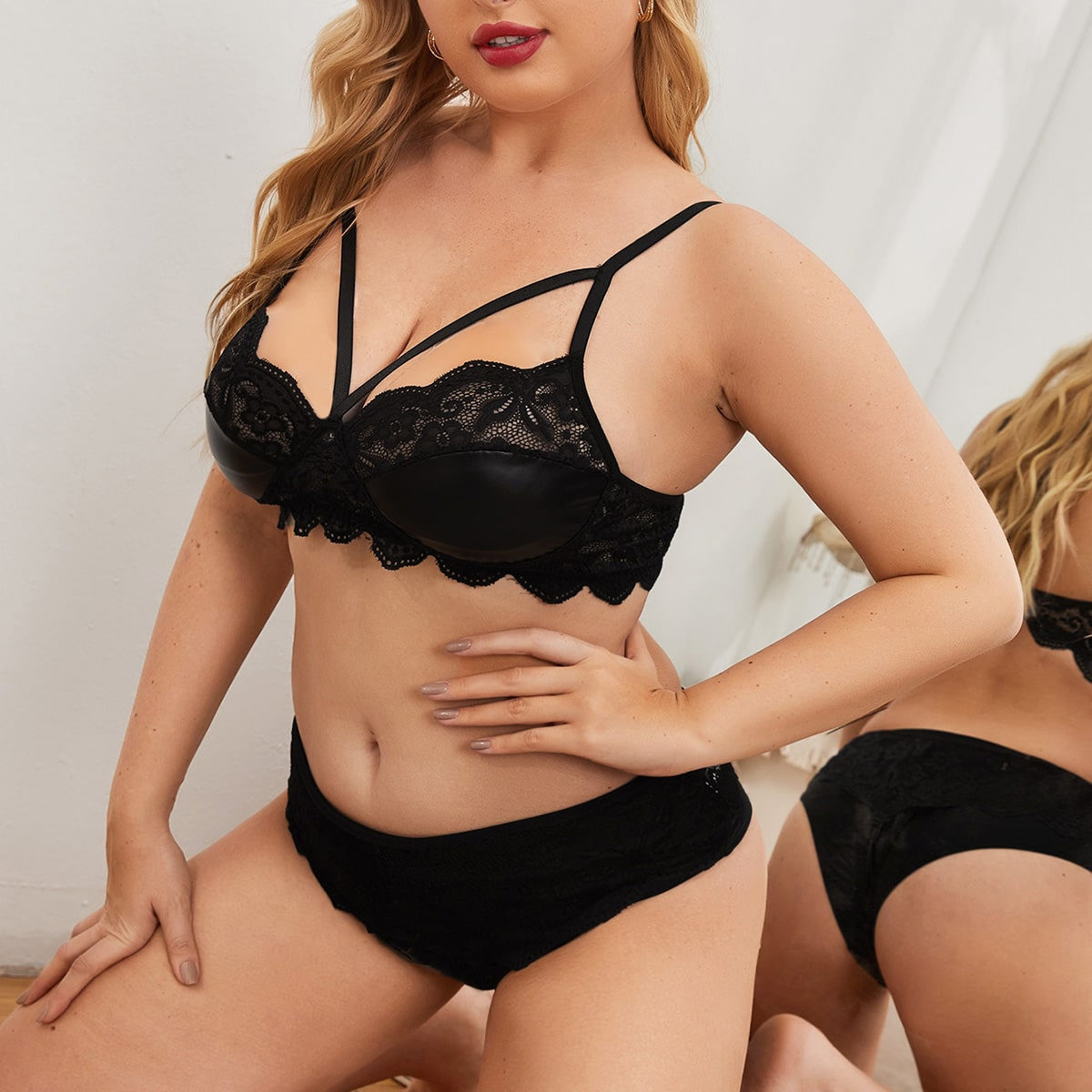 Plus PU Floral Lace Underwire Lingerie Set, SHEIN  - buy with discount