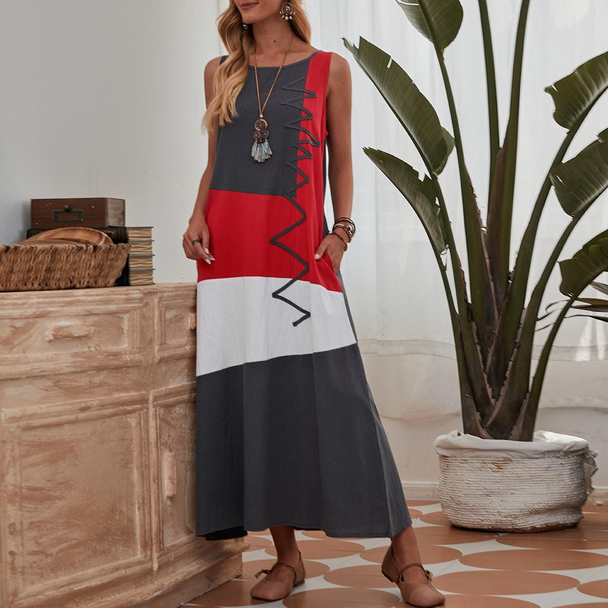 Контрастное платье с карманом