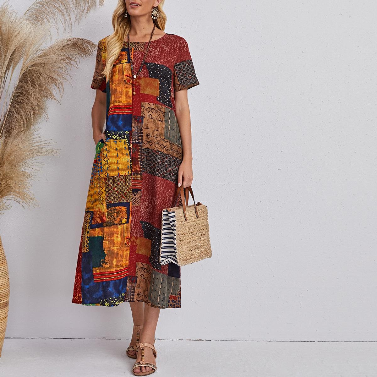 с карманами сводка цветных блоков Бохо Платье