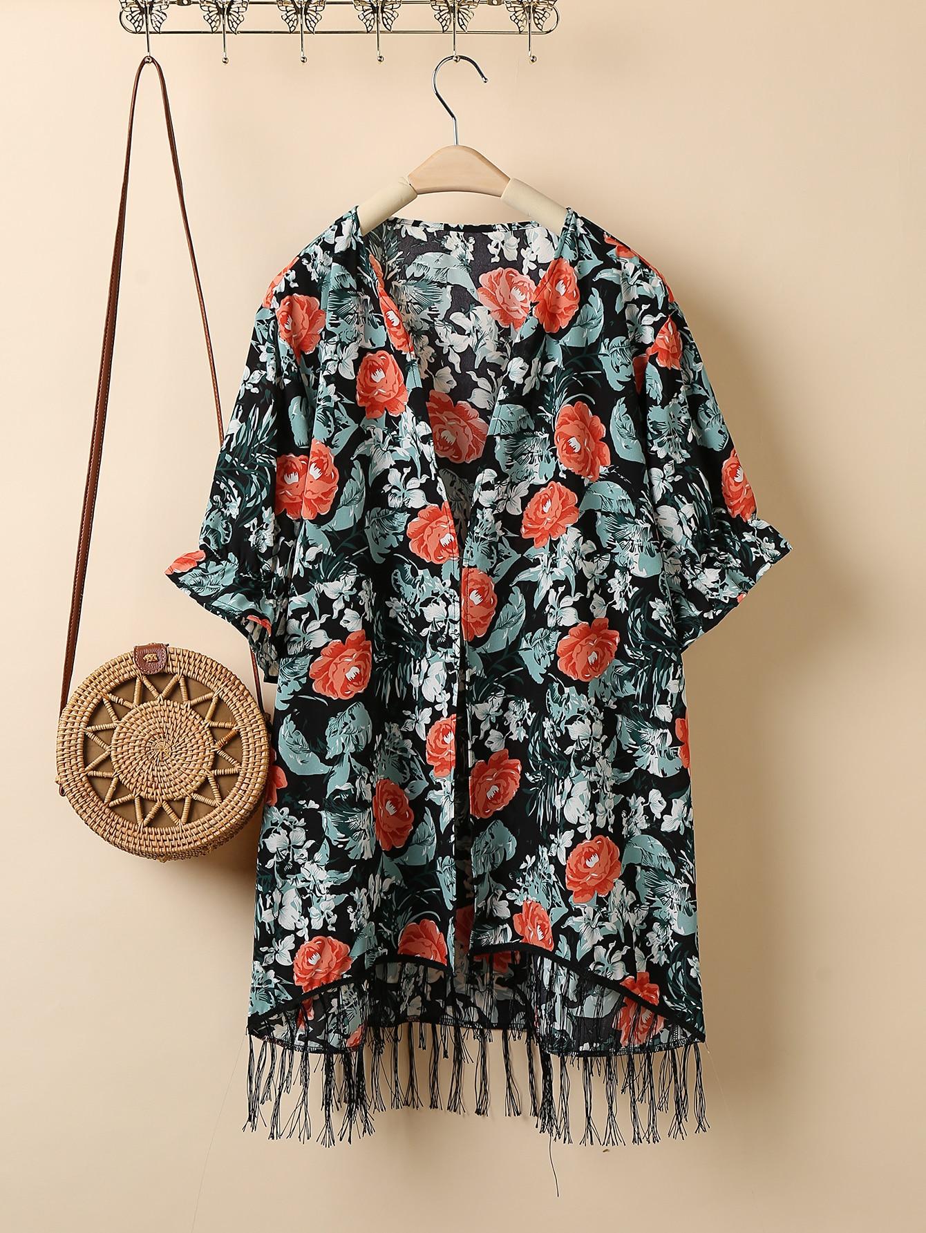 Plus Fringe Hem Allover Floral Kimono