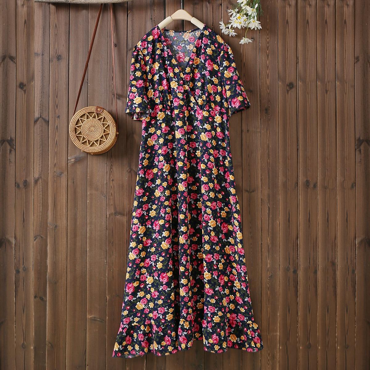 На запах Цветочный Бохо Платья размер плюс