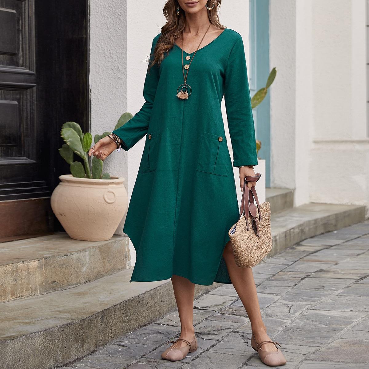 Асимметричное платье с карманами