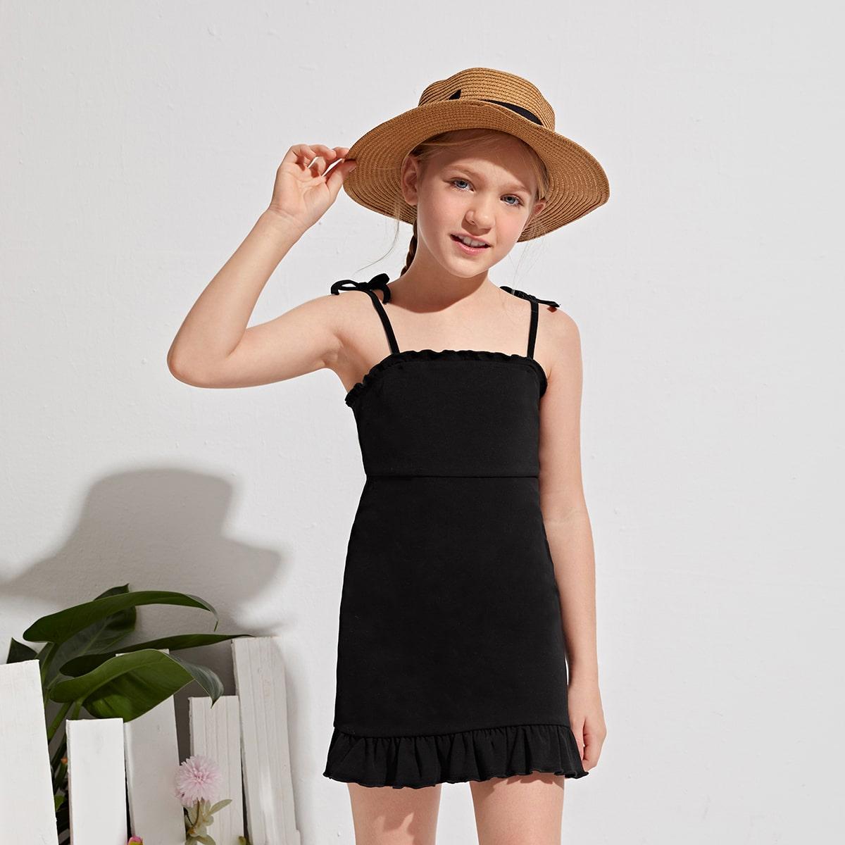 Платье с узлом на плечах для девочек по цене 680