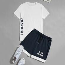 Guys Letter Graphic Tee & Drawstring Shorts