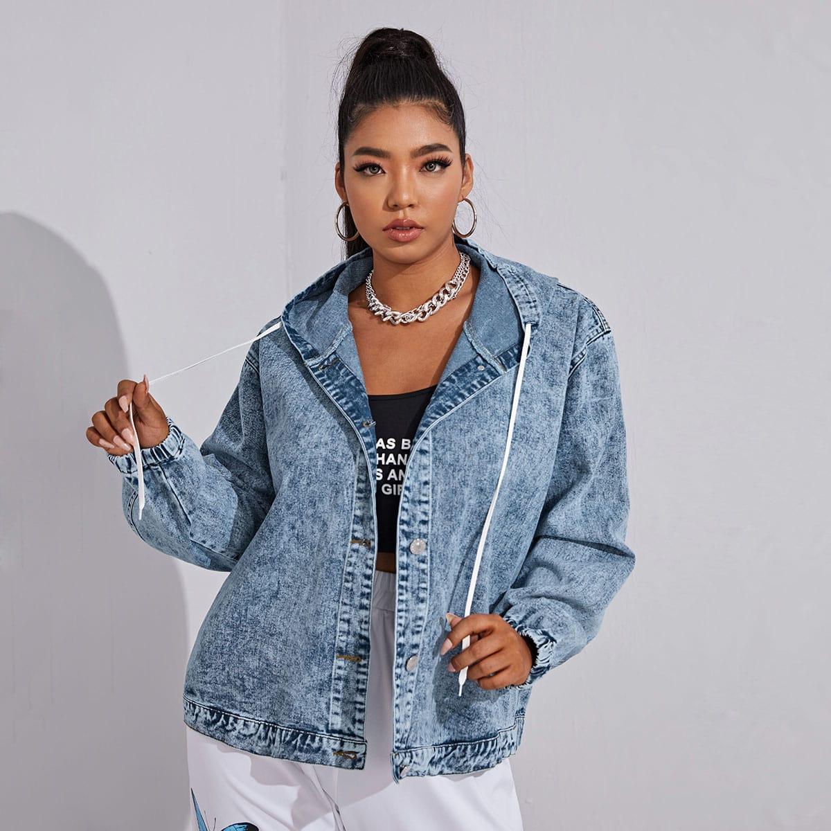 SHEIN Grote maat: jeansjas Koord