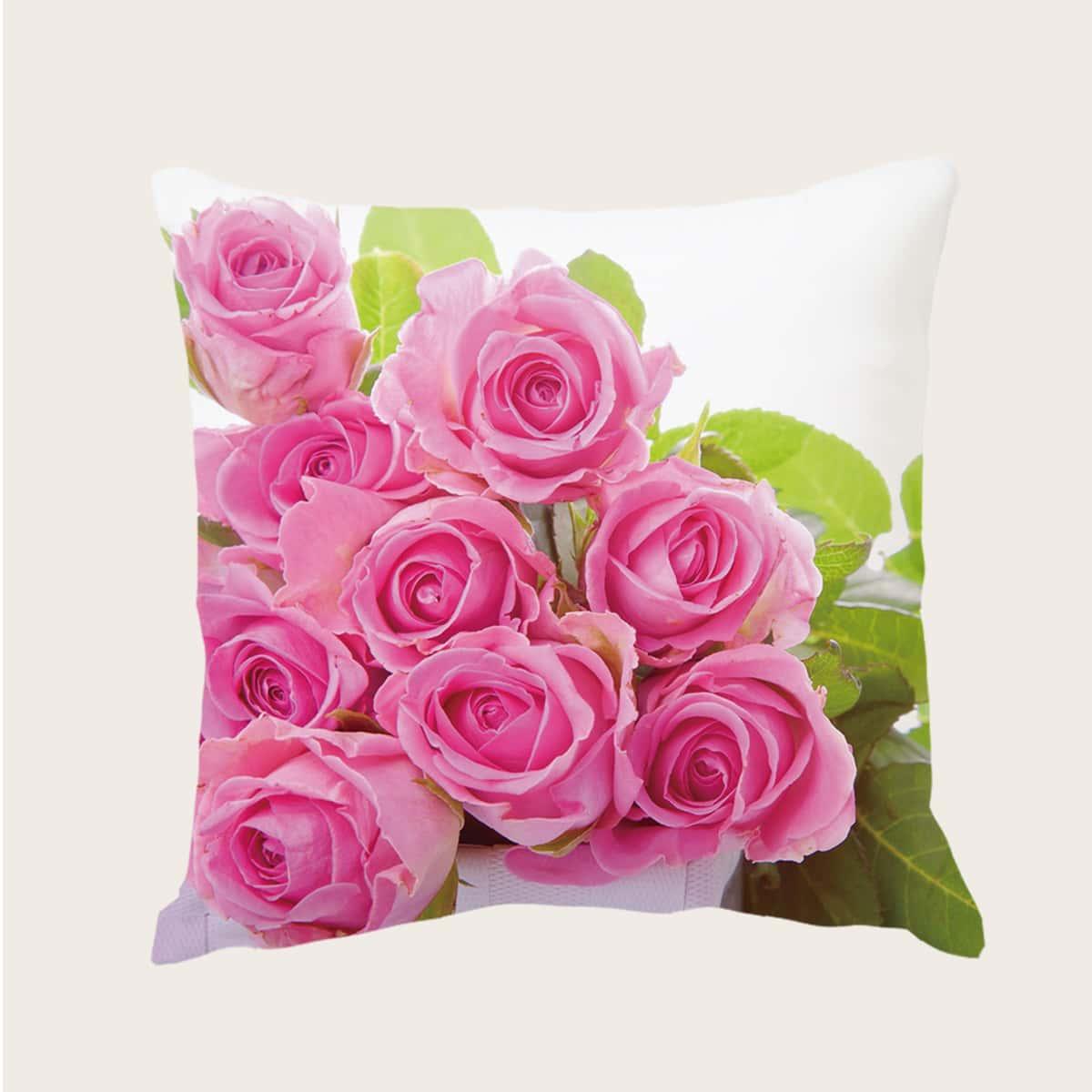 Чехол для подушки с принтом розы без наполнителя