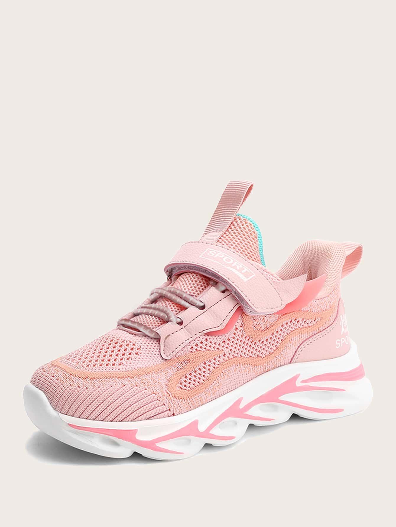 Girls Velcro Strap Knit Sneakers