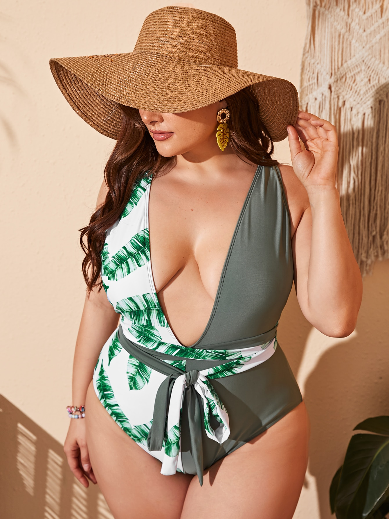 plus tropical knot one piece swimsuit