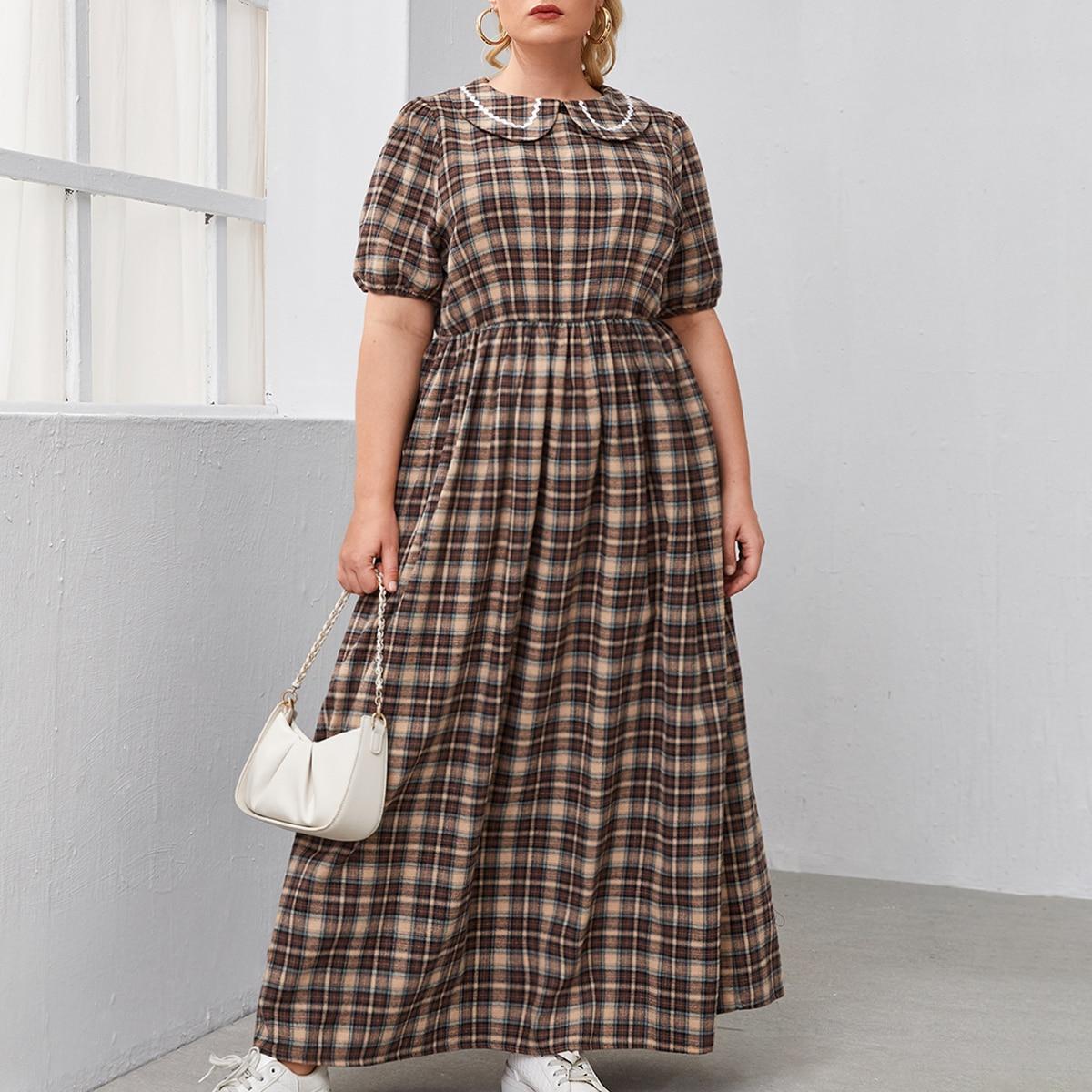 Платье в клетку размера плюс по цене 1 120