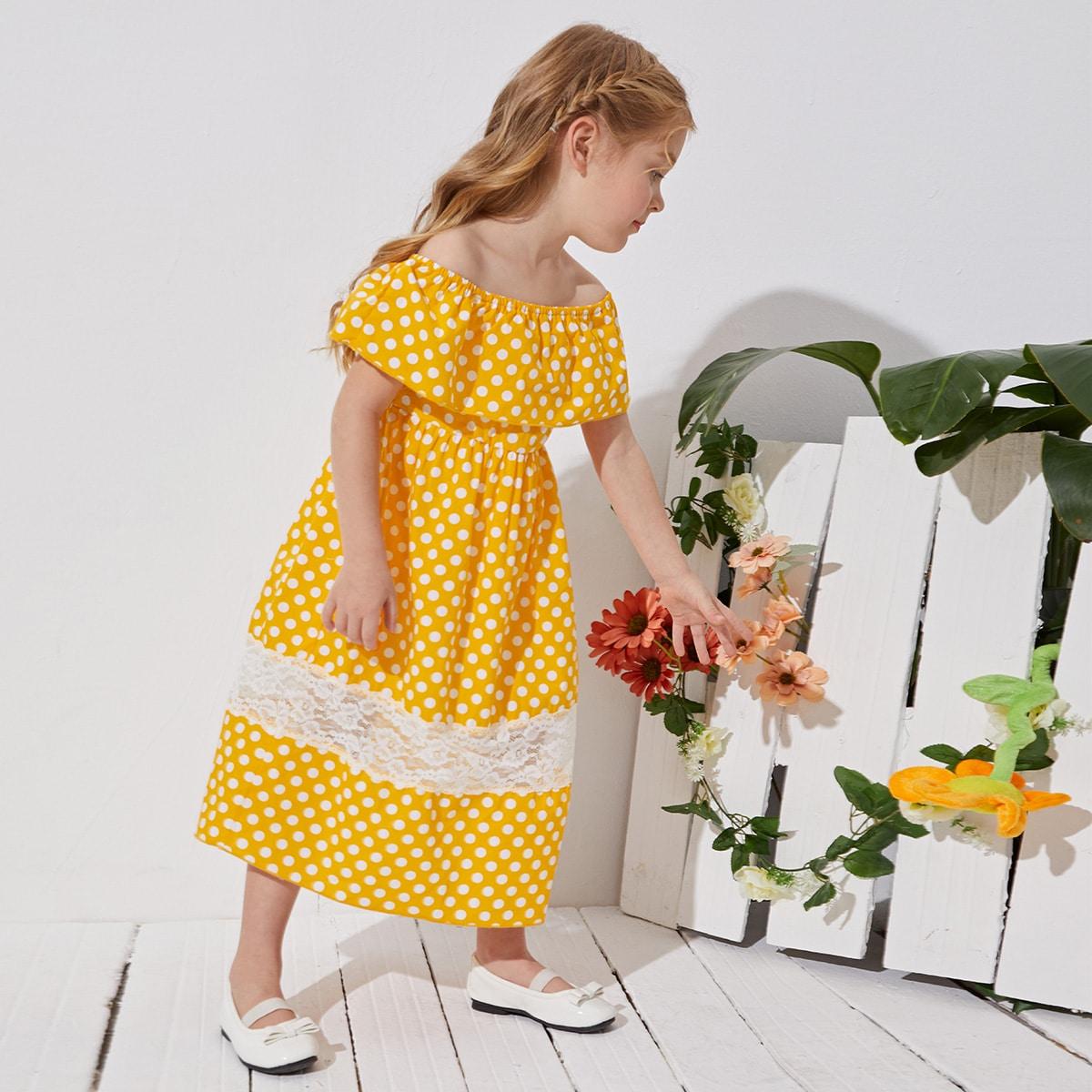 Toddler Girls Off-shoulder Contrast Lace Polka Dot Dress