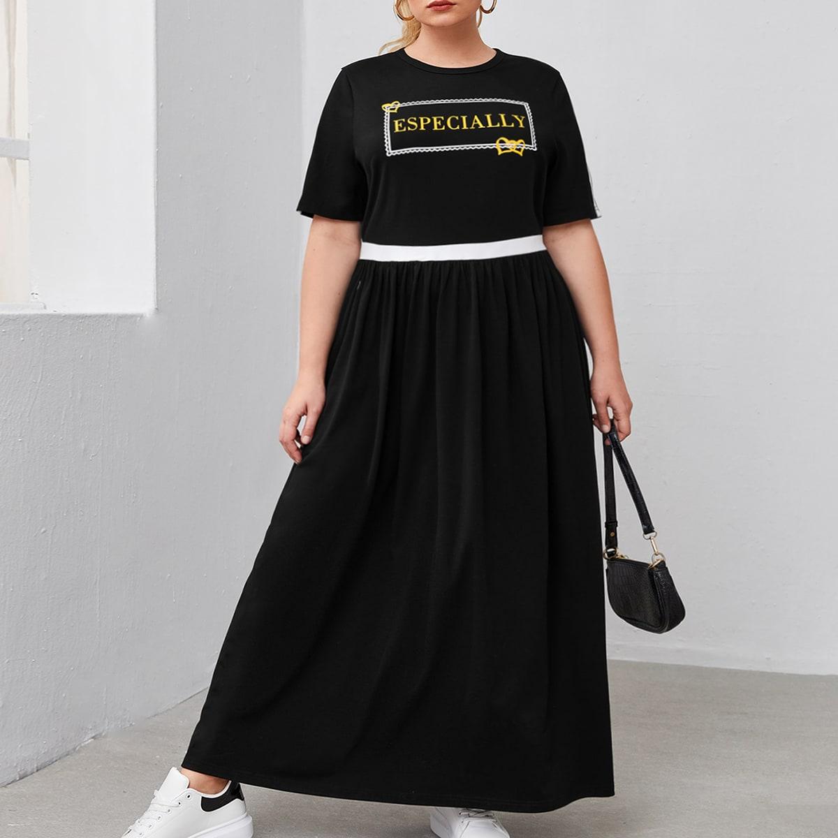 Контрастное платье размера плюс с текстовым принтом по цене 1 190