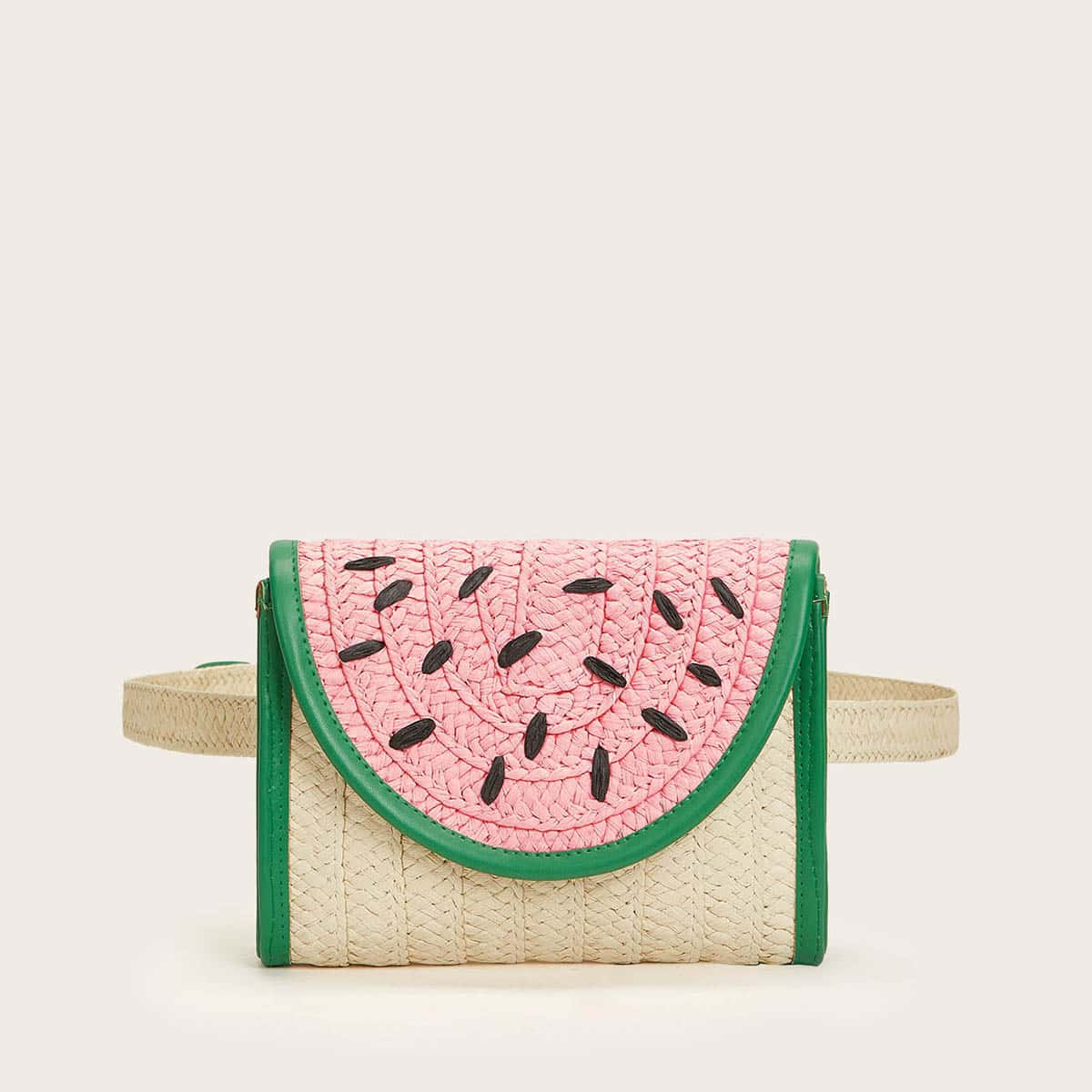 Контрастная соломенная сумка