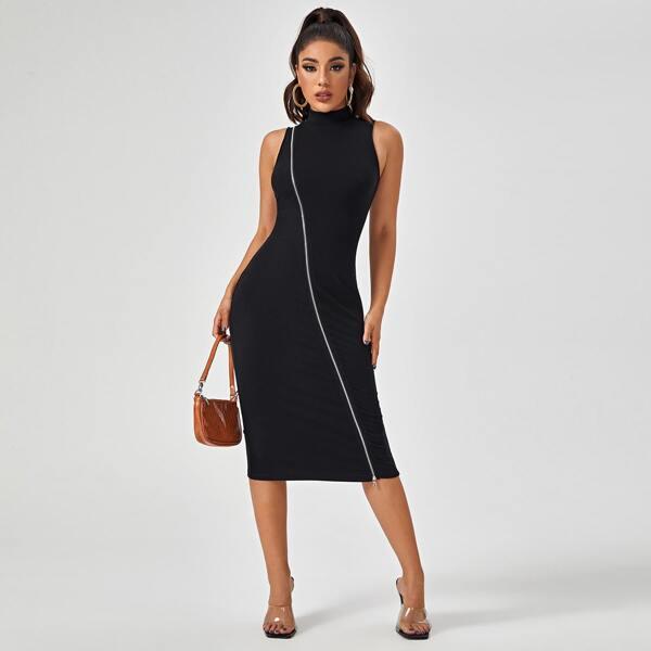 Mock Neck Zip Up Rib-knit Dress, Black