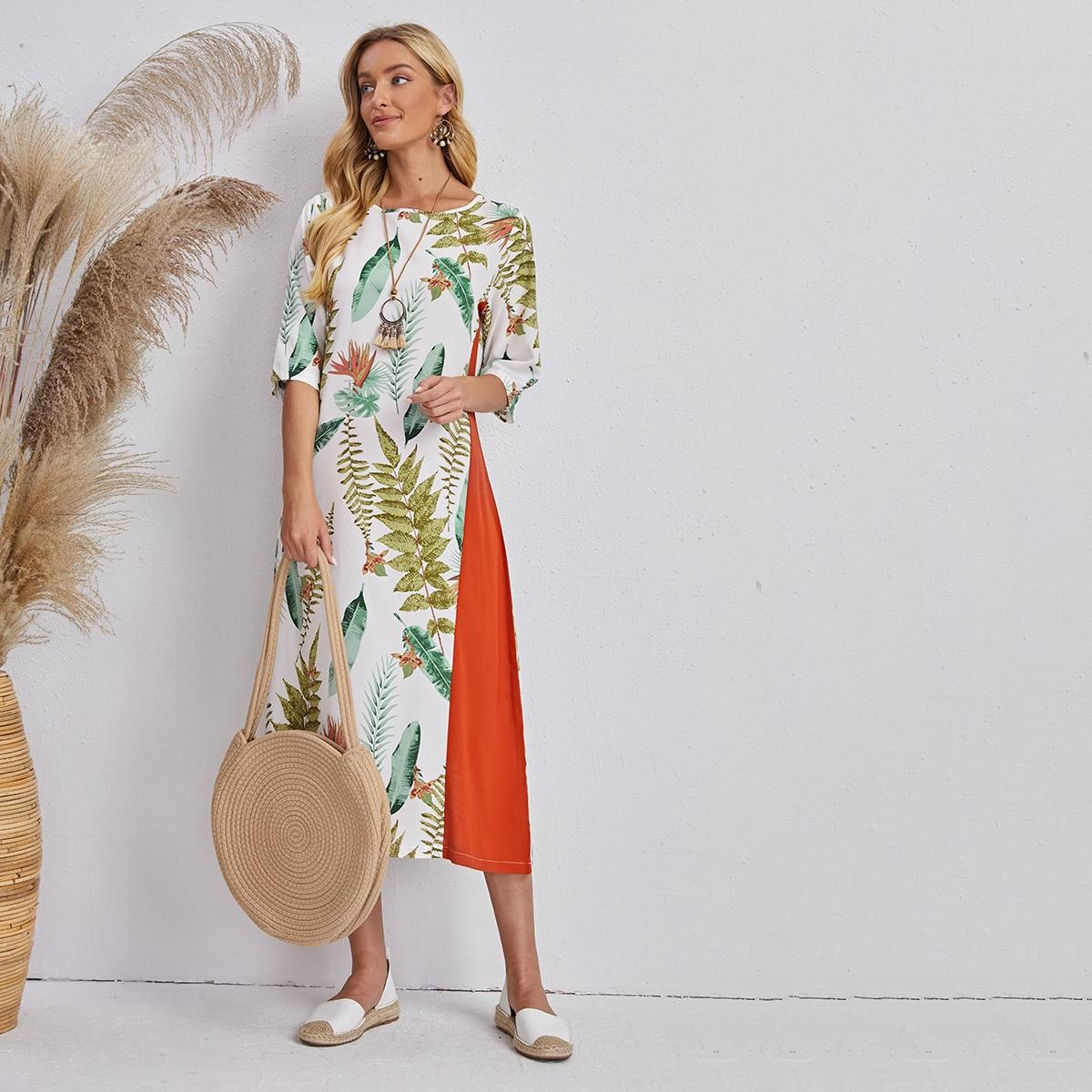 Контрастное платье с принтом растений