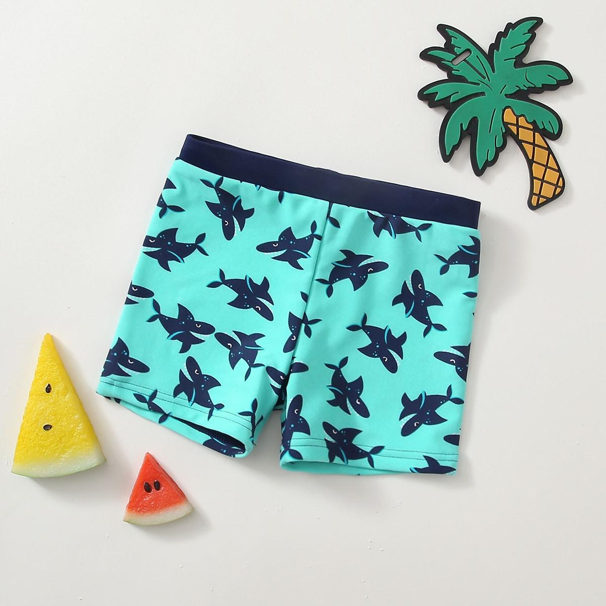 Плавательные шорты с принтом акулы для мальчиков