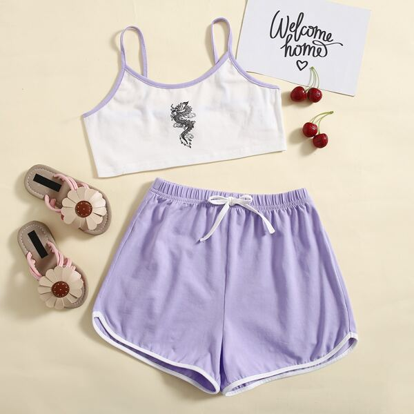 Girls Chinese Dragon Print Contrast Binding Cami Top & Dolphin Shorts Set, Multicolor