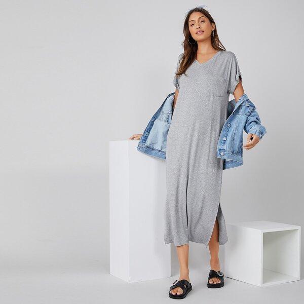 Split Hem Tee Dress, Light grey
