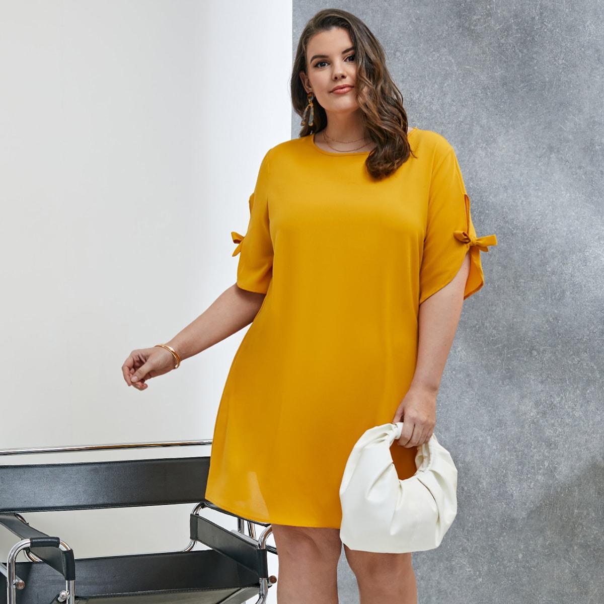 Платье размера плюс с узлом на рукавах
