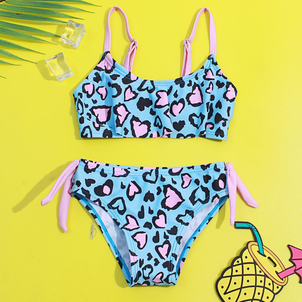 Toddler Girls Heart Print Bikini Swimsuit