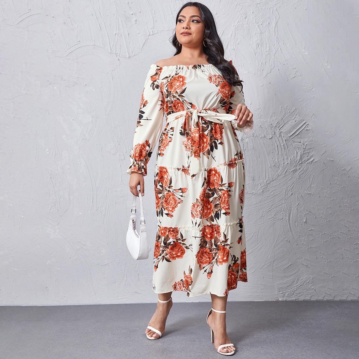 Платье размера плюс с поясом, открытыми плечами и цветочным принтом