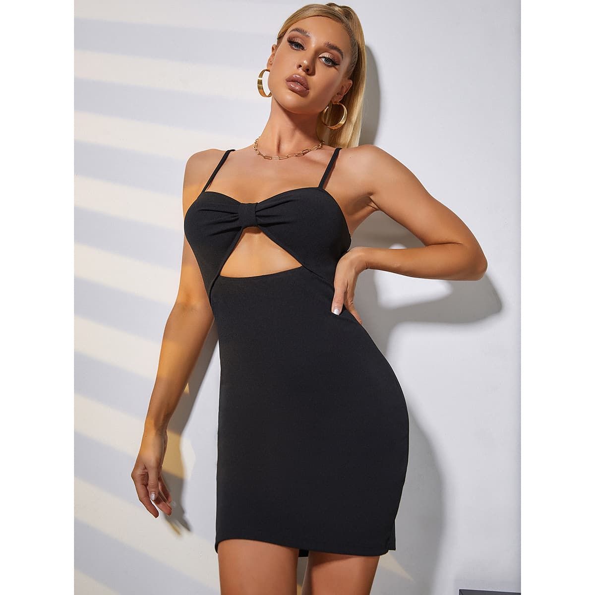 Ruched Cut-out Cami Bodycon Dress