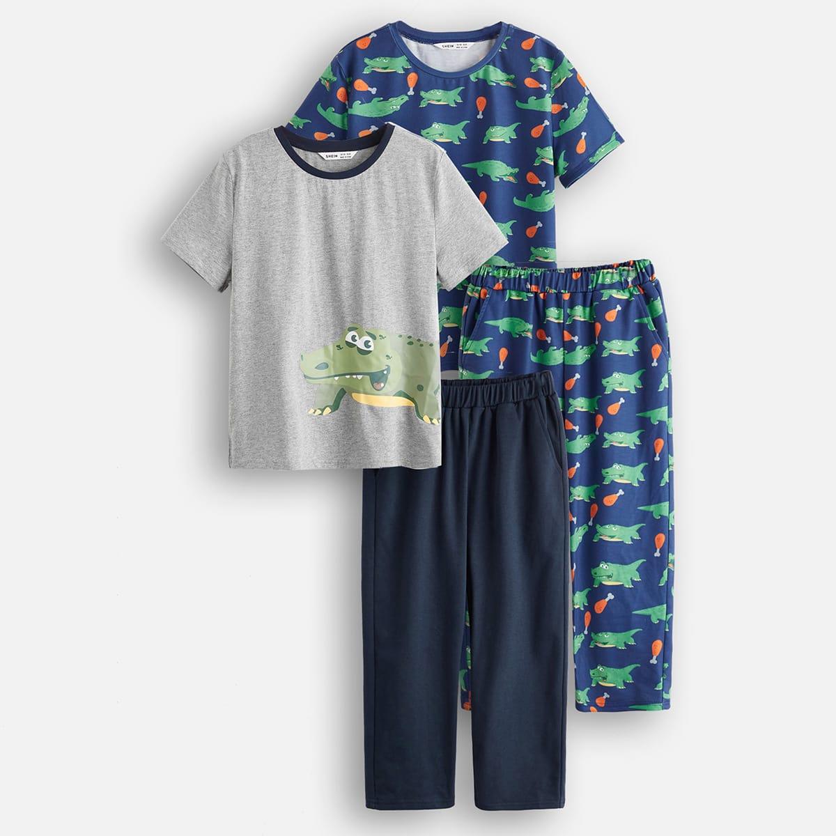 2шт пижама с принтом крокодила для мальчиков