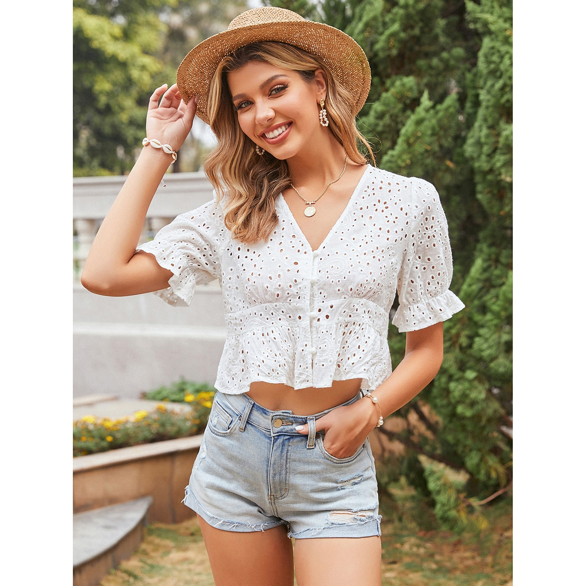 SHEIN / Eyelet Embroidery Ruffle Hem Button Up Blouse