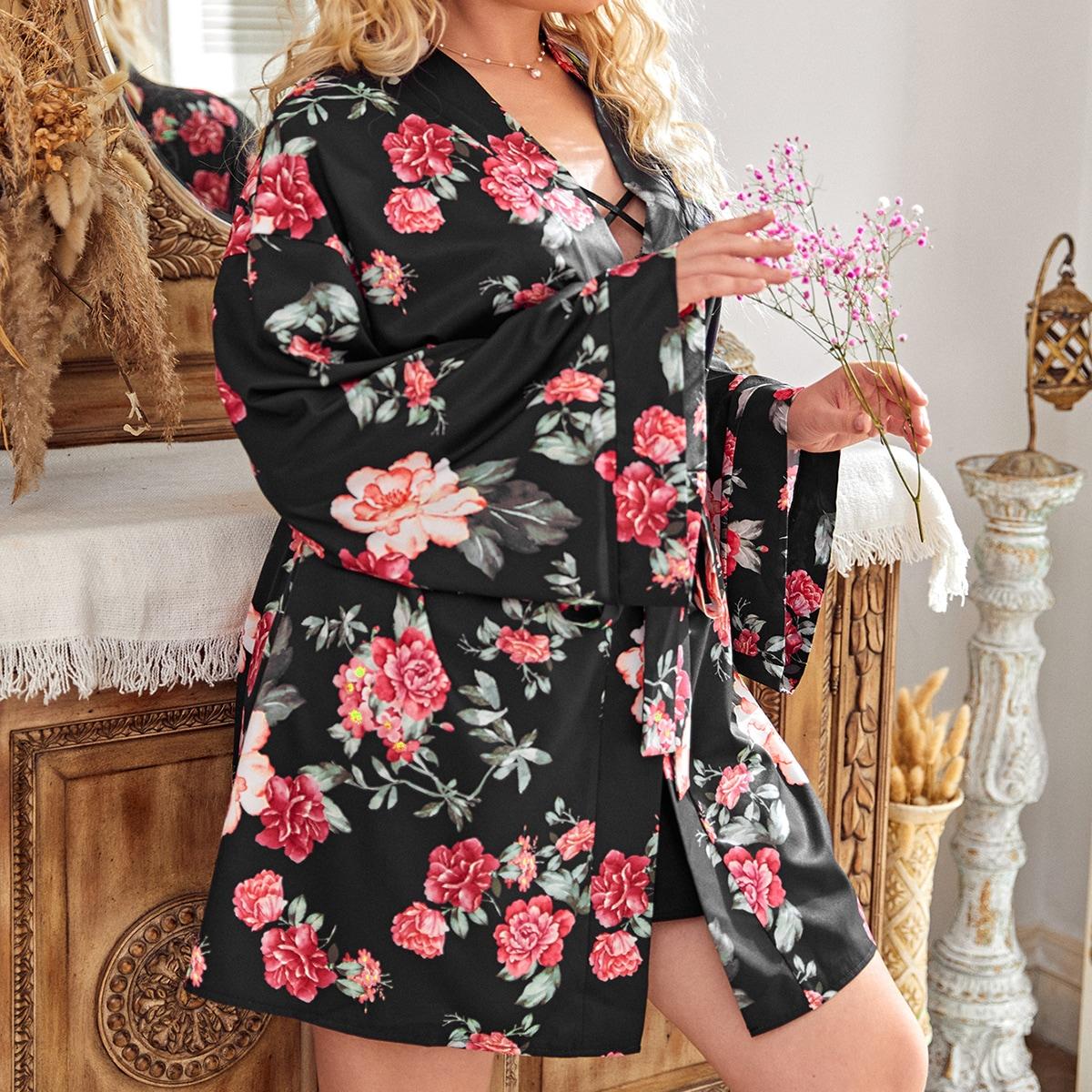 Plus Floral Print Belted Robe
