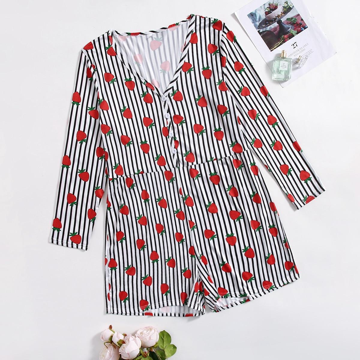 Комбинезон-пижама размера плюс в полоску с принтом клубники
