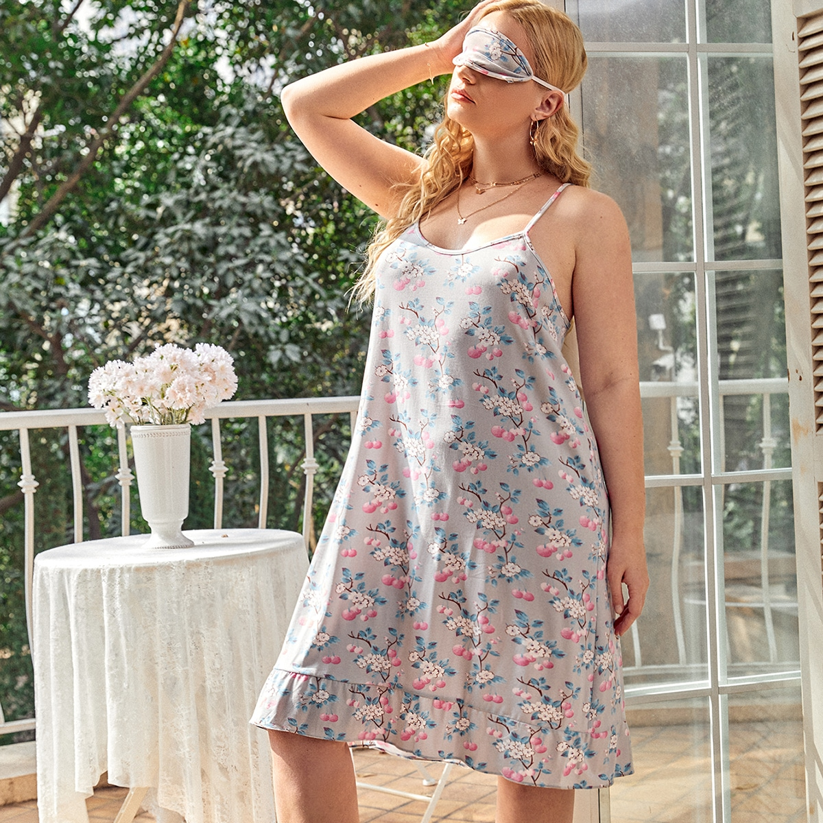 Plus Fruits And Floral Print Cami Night Dress With Eye Cover, SHEIN  - buy with discount