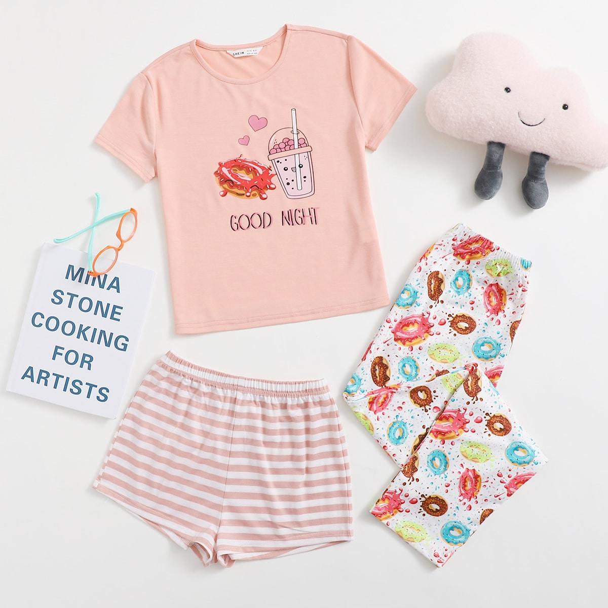 Полосатый милый Домашняя одежда для девочек