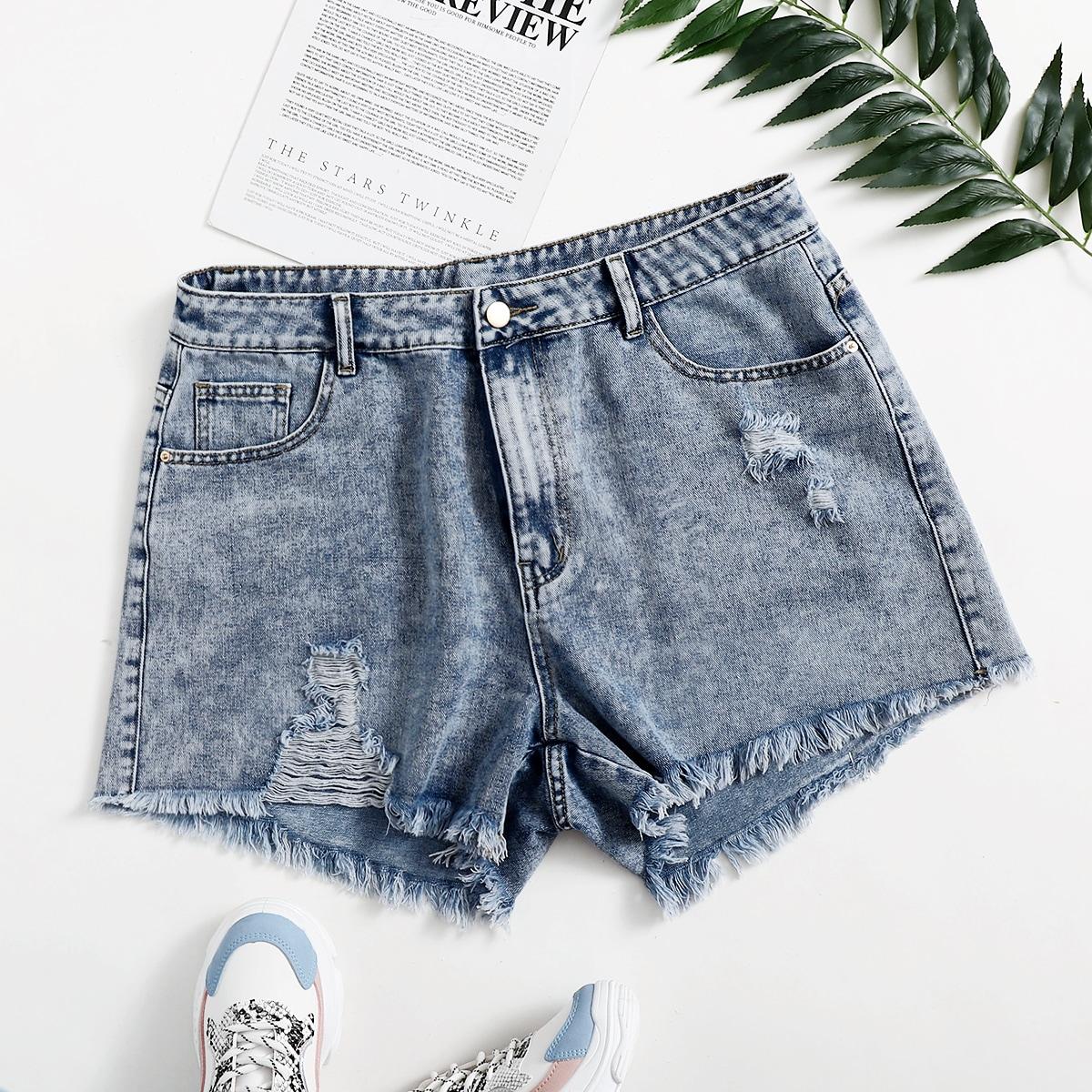 Размера плюс джинсовые шорты необработанной отделкой рваный