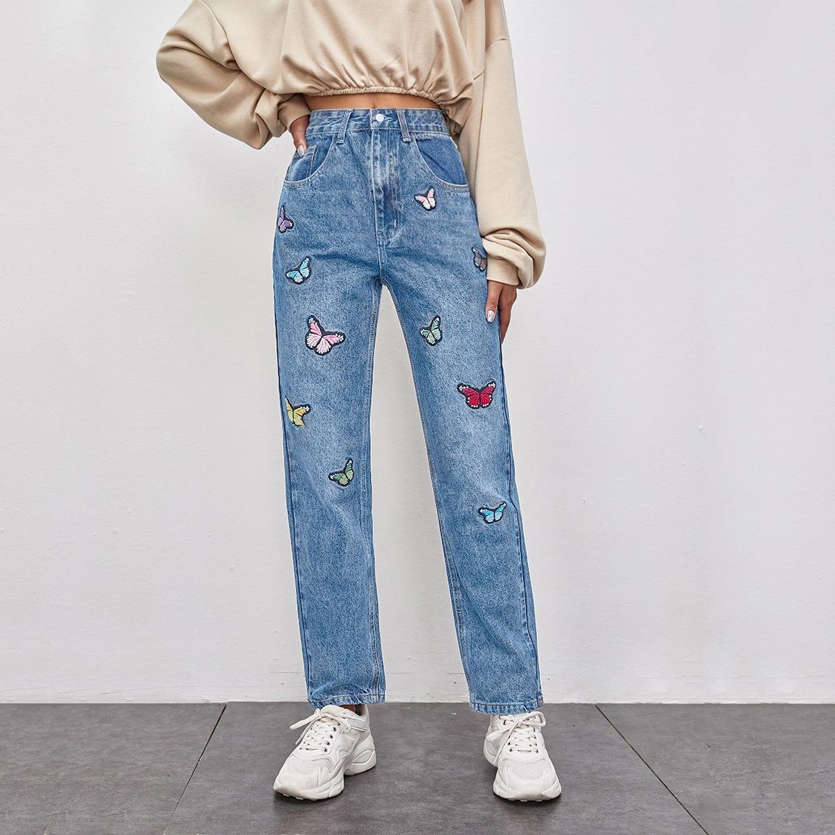 Прямые джинсы с вышивкой