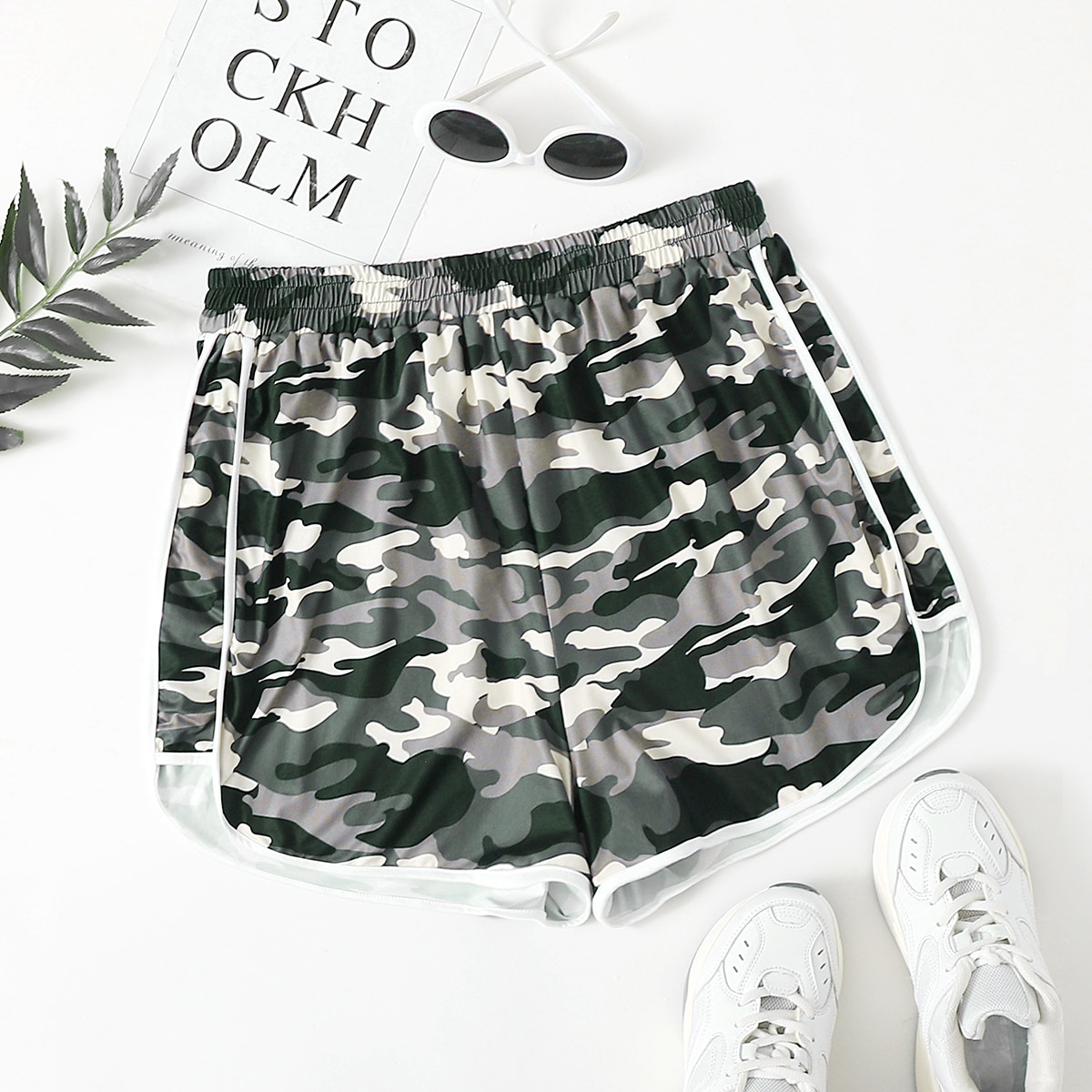 SHEIN Sport Camouflage Short grote maat Contrasterende Zomen