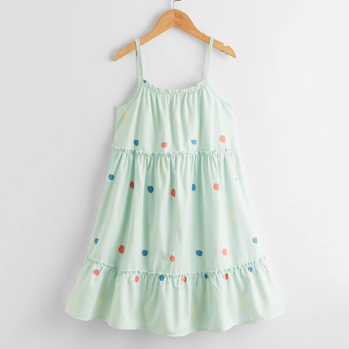 Cami Kleid mit Grafik Muster und Rüschenbesatz